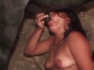 Sexy babe with tan lines wanking horse dick